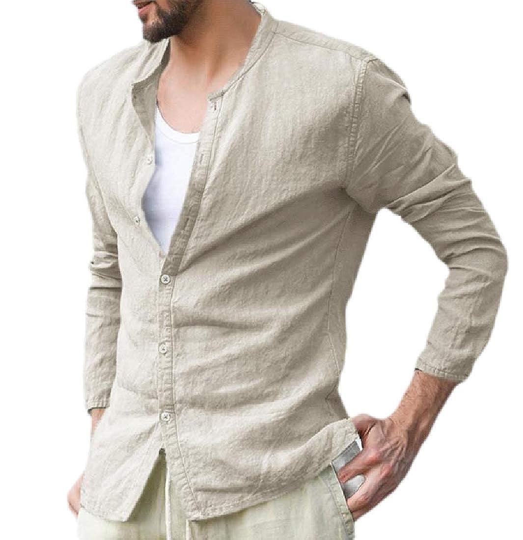 Joe Wenko Men Long Sleeve Crewneck Solid Casual Linen Button Down Shirts