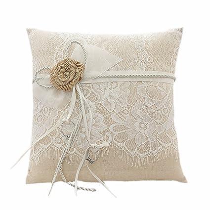 AmaJOY Cojín de anillo de boda yute hechas a mano con Flores arpillera 19 cm *