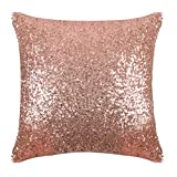 PONY DANCE Sequins Pillow Cover - Durable Solid Sequin Fabric Throw Cushion Cover Bling Square Sofa Pillowcase with Hidden Zipper for Xmas Home Decor, 18