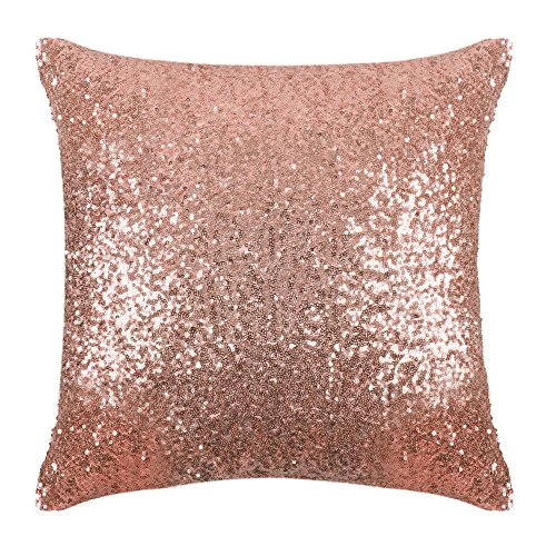 PONY DANCE Sequins Pillow Cover - Durable Solid Sequin Fabric Throw Cushion Cover Bling Square Sofa Pillowcase with Hidden Zipper for Xmas Home Decor, 18 x 18 inch, Champagne Blush, 1 PC (Blush Fur Pillow)