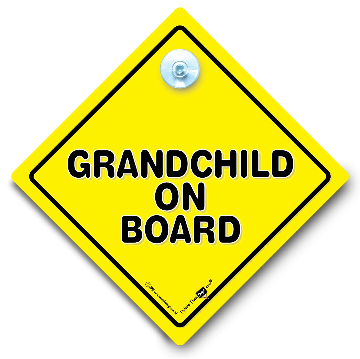 Grandchild On Board Car Sign, Baby on Board Sign, Yellow and Black Car Sign, Suction Cup Vehicle Window Sign