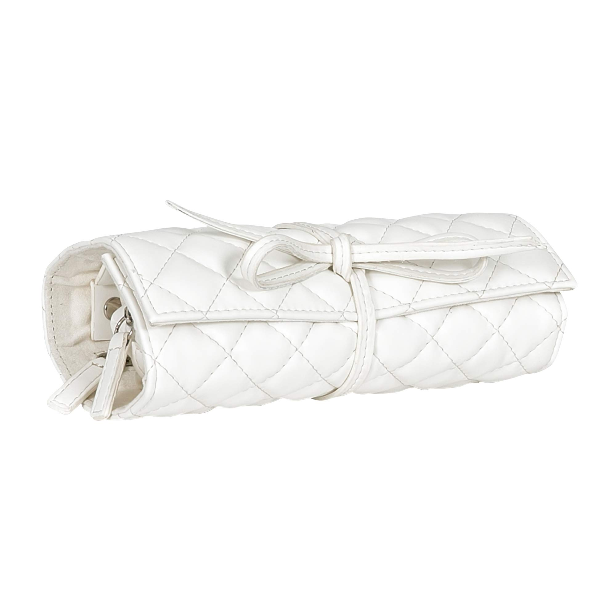 Mele & Co. Whitley Travel Jewelry Roll in White Faux Leather
