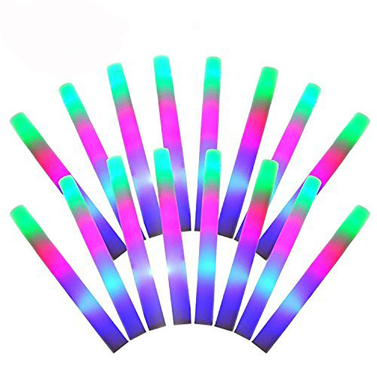 INIEIWO 100Pcs LED Foam Sticks Multicolor Glow Batons for Weddings Partys Raves Festivals Birthdays, Children Toy with 3 Modes Lighting (100 Pack)