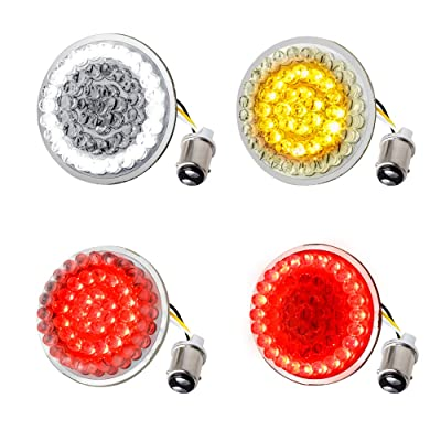 NTHREEAUTO 2 Inch Bullet Front & Rear LED Turn Signals 12V Motorcycle Brake Running Lights Panel with 1157 Base Compatible with Harley Sportster, Dyna, Iron 883, Road King, Softail, Electra Glide: Automotive [5Bkhe0906165]