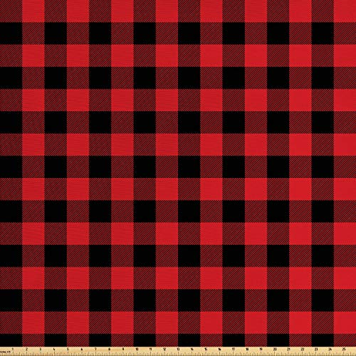 Ambesonne Plaid Fabric by The Yard, Lumberjack Fashion Buffalo Style Checks Pattern Retro Style with Grid Composition, Decorative Fabric for Upholstery and Home Accents, 2 Yards, Orange Black ()