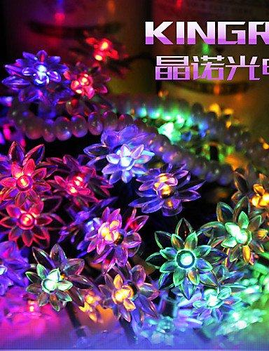 MEIREN King Ro Solar Outdoor String Lights 19.7ft 30 LED Lotus Flower Solar Fairy Lights for Garden Wedding Decoration, us