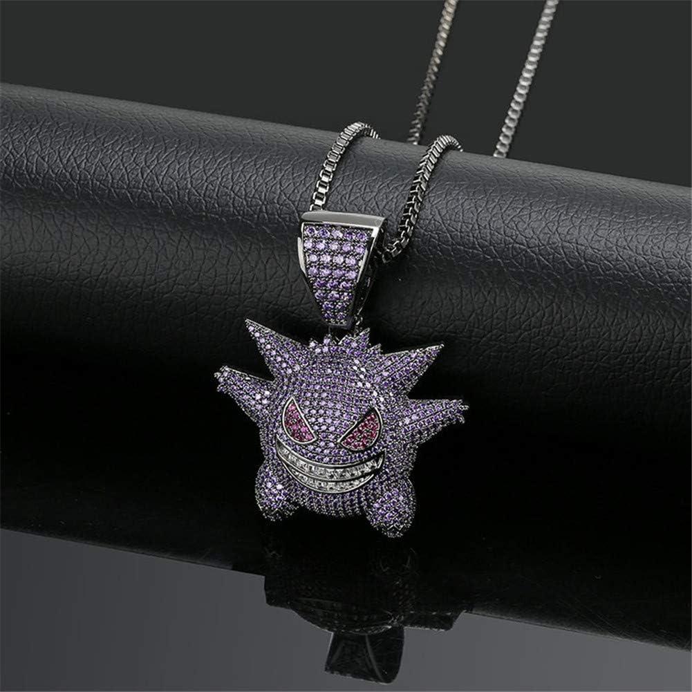 Moca Jewelry Collier unisexe avec pendentif en forme de Ectoplasma serti de cristaux cha/îne en acier inoxydable plaqu/é or 18 carats 61 cm