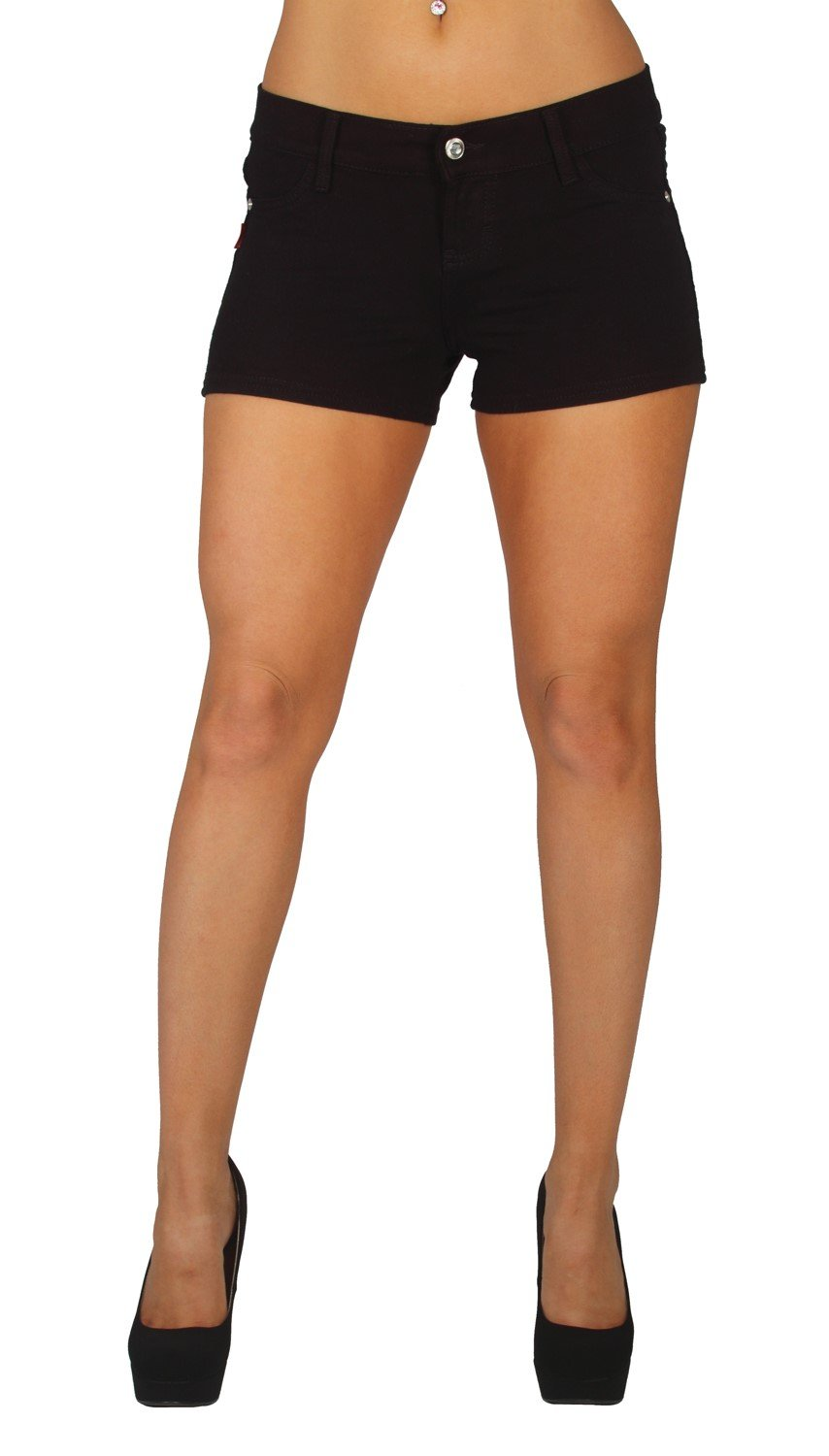 Basic Booty Shorts Premium Stretch French Terry Moleton With a gentle butt lifting stitching in Black Size XXL