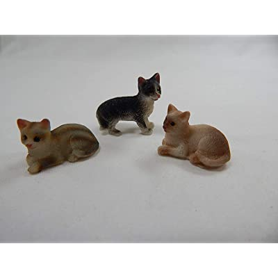 "Dollhouse Miniature 0.75""x0.25"" Cat Kitten 3 pcs Set #Z501: Home & Kitchen"
