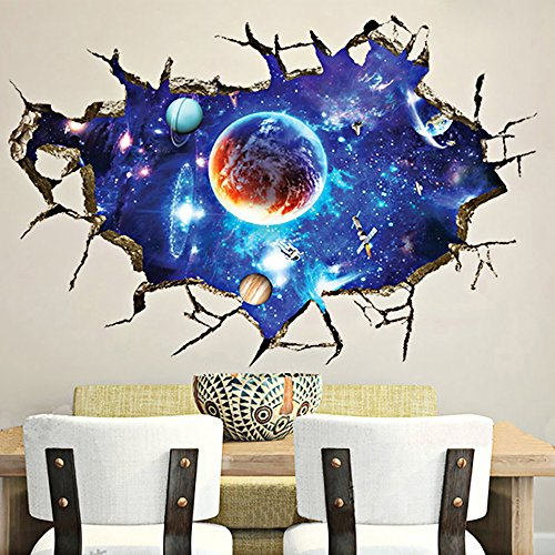 Kaimao Wall Decal 3d Mural a Corner of Creative Universe Removable Wall Stickers for Wall and Ceiling Home Decor