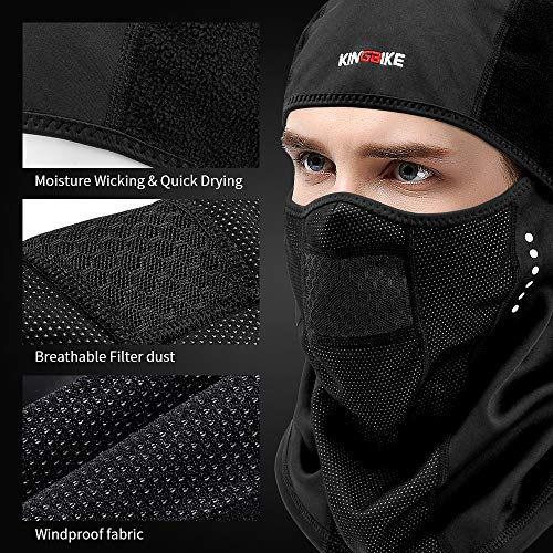 KINGBIKE Balaclava Ski Mask Motorcycle Running Full Face Cover Neoprene  Masks Black for Men Women Windproof Warm Winter Cold Weather Gear Cycling  Bike ... 699d46073ebf