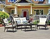 SUNTONE Outdoor Furniture 4 Piece Conversation Set- All Weather PE Rattan Wicker  Patio Furniture Set, Beige Cushions, 2 Throw Pillows (2018 New, Brown)