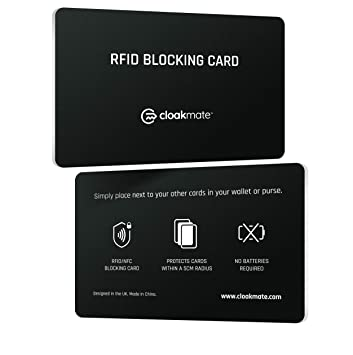 c17c818da108 2 x RFID/NFC Blocking Card by Cloakmate | Contactless Protection for Entire  Wallet | Credit & Debit Card Protector | No Batteries Required - Double ...