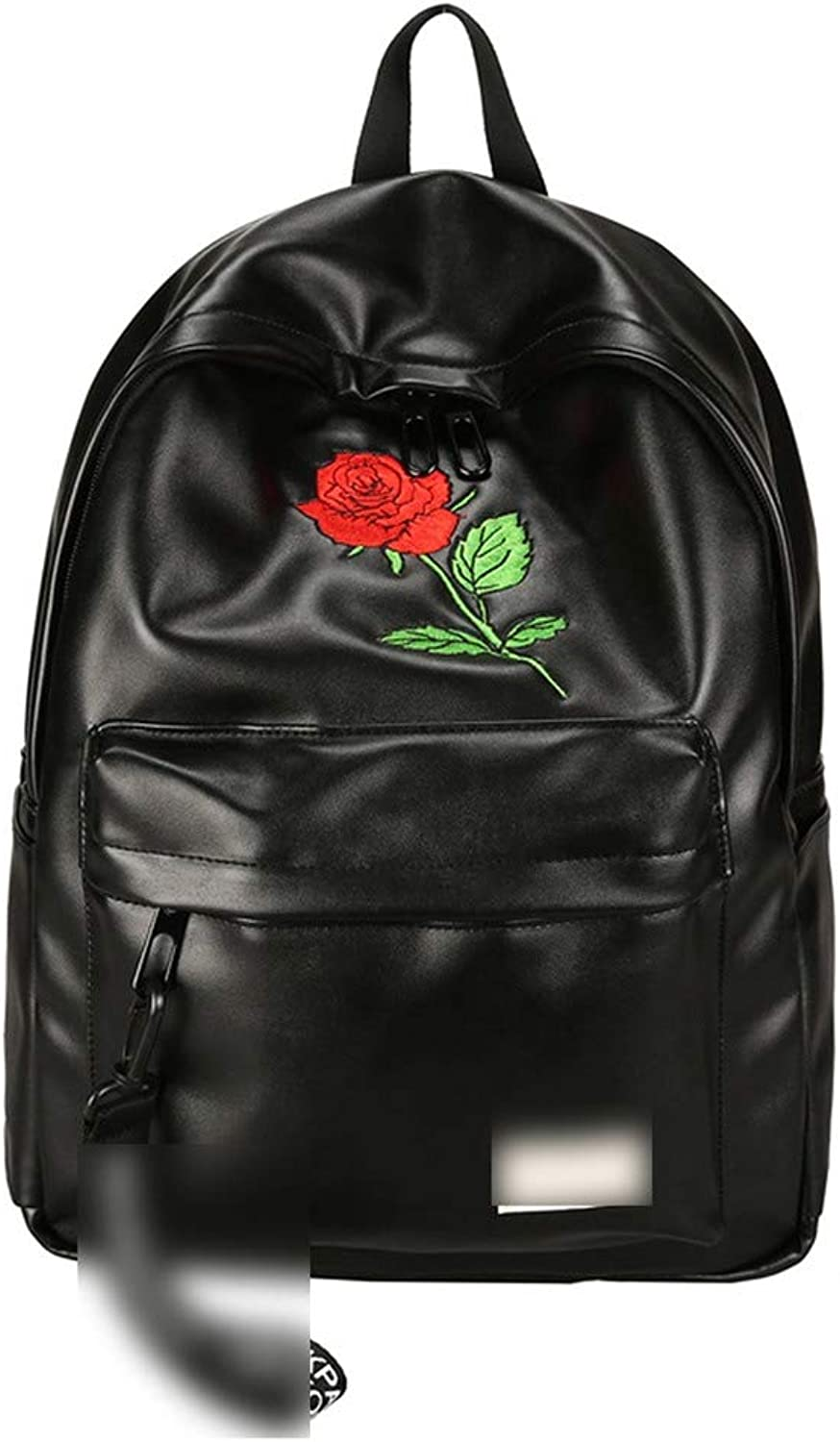 Unisex Pu Leather Backpack Women Embroidery Rose Backpack Lovers Men's Leather Backpack