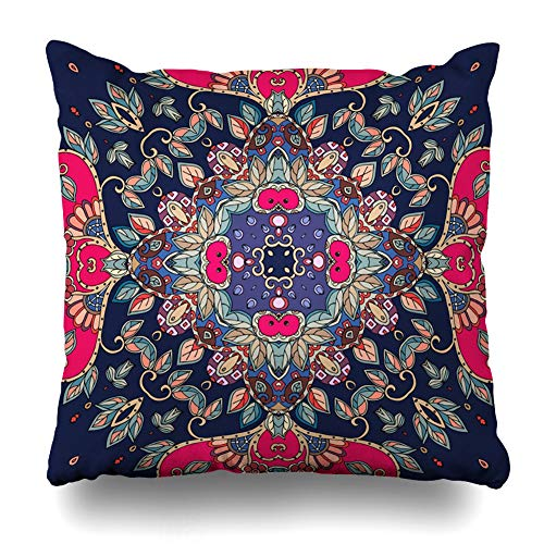 Ahawoso Throw Pillow Cover Style Red Asian Ethnic Ceramic Pattern Artwork Bandana Blossom Drawn Endless Ethno Design Home Decor Pillow Case Square Size 20 x 20 Inches Zippered Pillowcase