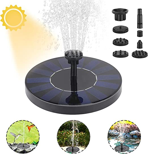 Achort Fuente Solar con Bateria, Bomba de Agua Solar, 1.5W Flotante Fuentes Solares para Jardin Bomba Agua Sumergible Solar con 6 Boquillas para Piscina, Decoración del Jardín, Estanque (Círculo): Amazon.es: Jardín