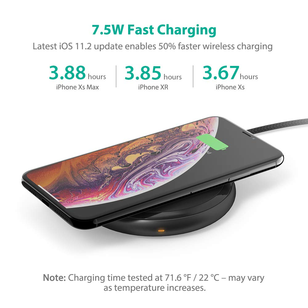 Fast Wireless Charger RAVPower 7.5W Compatible iPhone Xs MAX/XR/XS/X/8/8 Plus, with HyperAir, 10W Compatible Galaxy S9, S9+, S8, S7 & Note 8 and All Qi-enabled Devices (QC 3.0 Adapter Included) by RAVPower (Image #4)