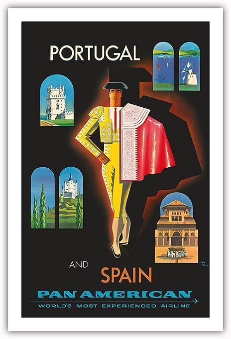 Pacifica Island Art Portugal y España por Clipper-Matador-Pan Am-Cartel del Viaje del Mundo del Vintage de Jean Carlu c.1958-Prima 290gsm gicle Lámina 24in x 36in: Amazon.es: Hogar