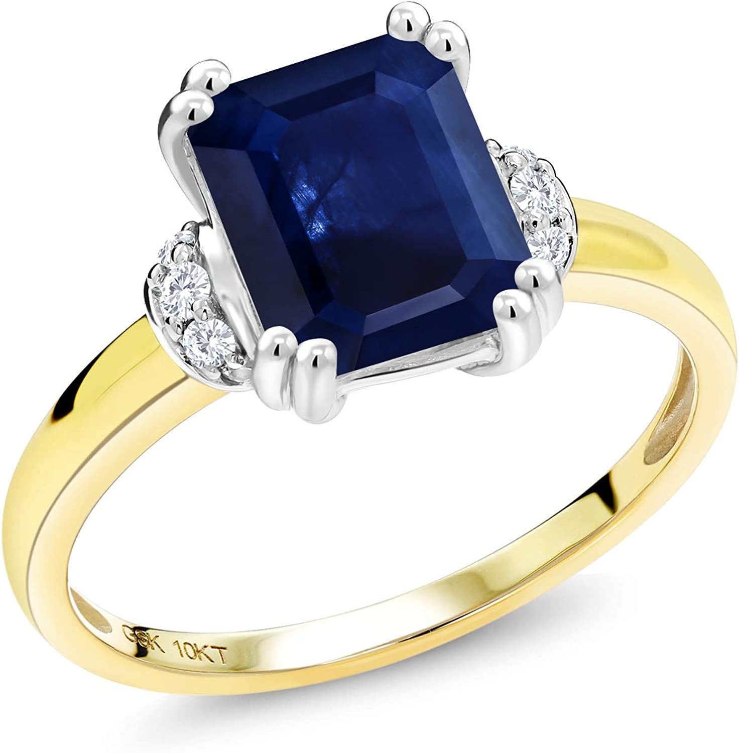 Gem Stone King 10K 2 Tone Gold Blue Sapphire and Diamond Accent Women Engagement Ring (2.57 Cttw, Emerald Cut 9X7MM Available in size 5, 6, 7, 8, 9)