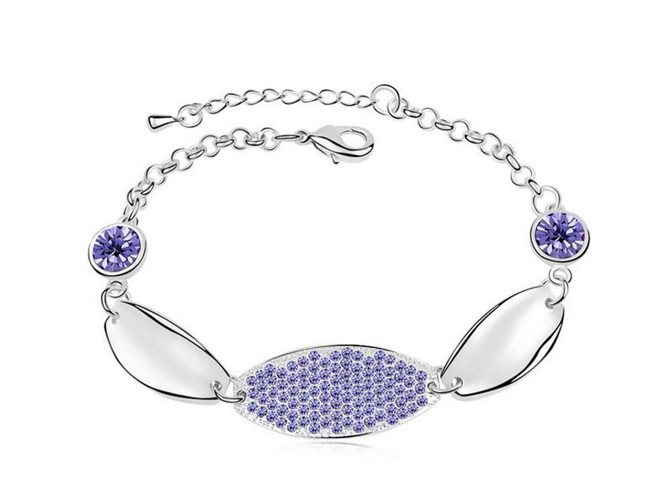 Women Elegant Leng Elegant Pretty Bracelet Extravagance Women's Austrian Crystal Adjustable Bracelet(Purple)