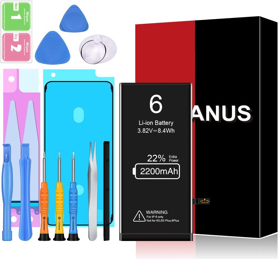 Battery for iPhone 6, HEGANUS New 0 Cycle Higher Capacity Battery Replacement for iPhone 6 with Complete Professional Repair Tools Kits (6)