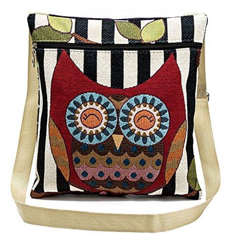 Girl's Messenger Bag Adjustable Cross-body Strap VigourTrader Cute Owl Print High Color Fastness Shoulder Bag Ultralight