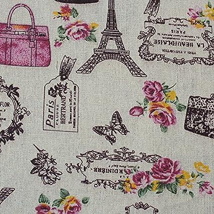OPEN BUY Tela de algodon retro de lino Paris para tapizar sillas ...