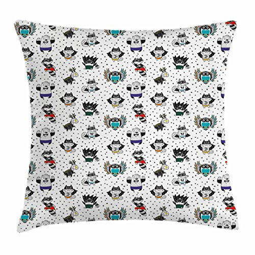 Superhero Throw Pillow Cushion Cover by Ambesonne, Animal Owl Dear Fox Cat Penguin Raccoon Bear in Superhero Costumes Print, Decorative Square Accent Pillow Case, 18 X 18 Inches, White Seal Brown - Club Penguin Art Costume
