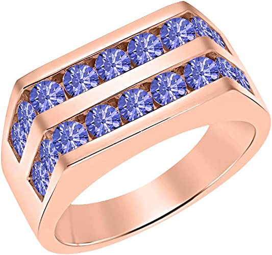 Svc Jewels Men S 14k Rose Gold Over Channel Set Round Tanzanite