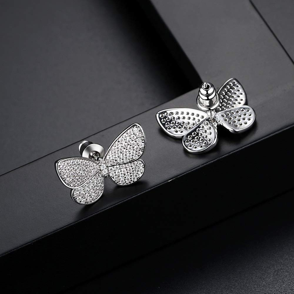 Onefeart Platinum Plated Stud Earrings For Women Round Cubic Zirconia Simple Design Butterfly Shape Earrings 15X9MM White Gold