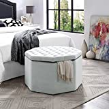 Inspired Home Silvia Light Grey Velvet Ottoman – Cocktail Coffee Table | Upholstered Tufted | Modern Octagon