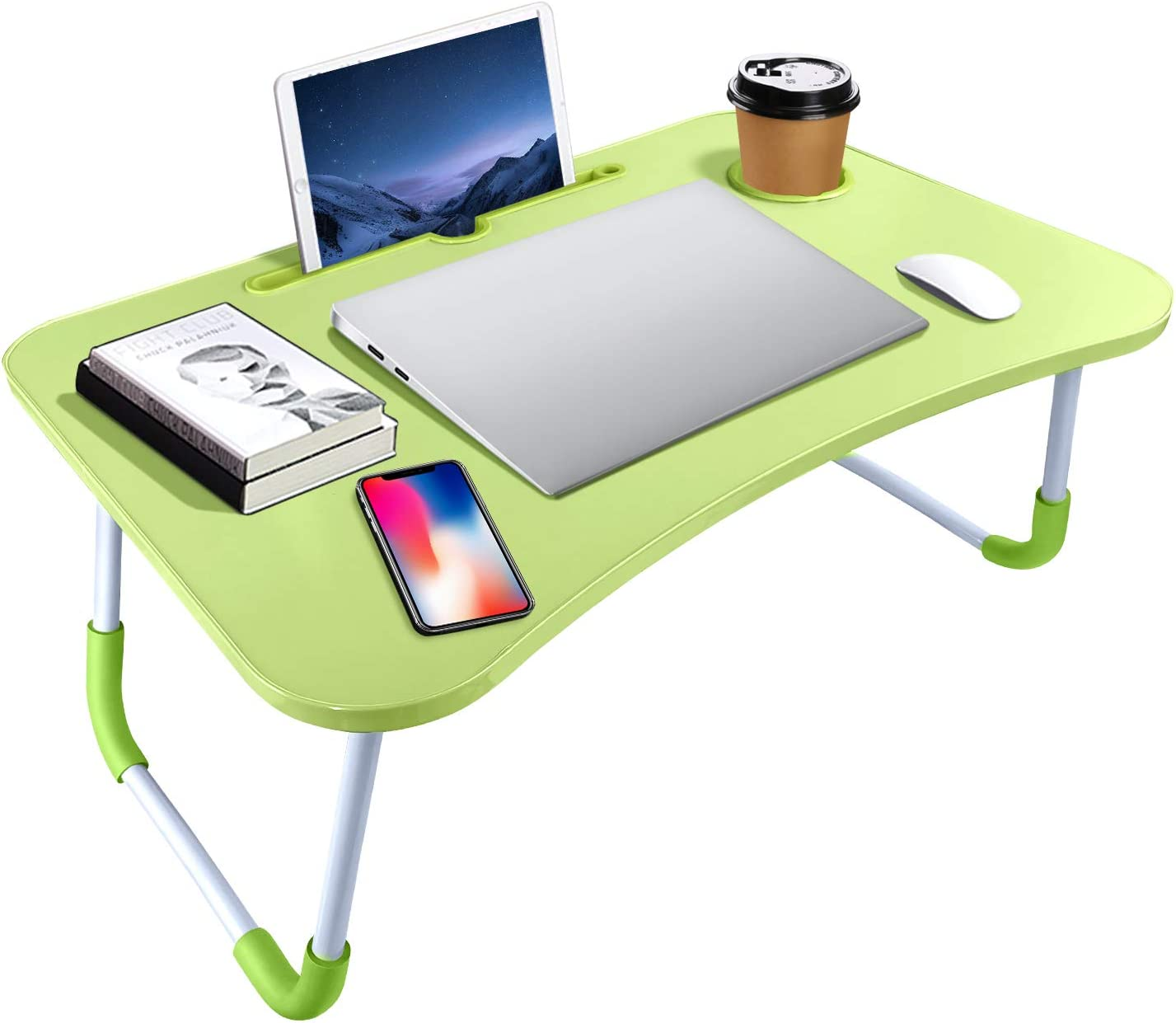 KPX Portable Laptop Bed Table, Fordable Lap Desk with Cup Slot & Notebook Stand Breakfast Bed Trays for Eating and Laptops Book Holder Lap Desk for Floor,Couch, Sofa, Bed, Terrace, Balcony (Green)
