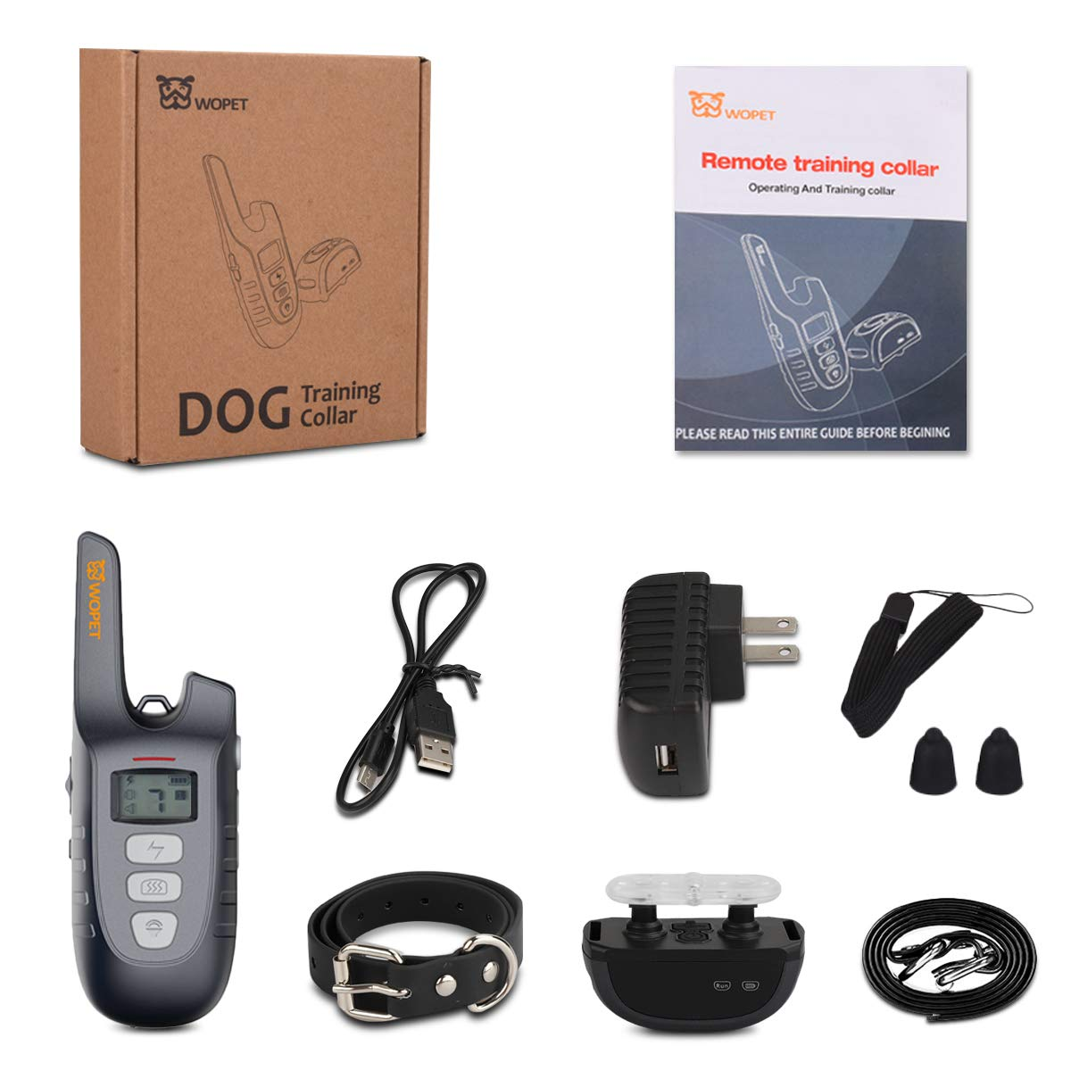 WOPET Dog Training Collar, 1500ft Remote Dog Shock Collar,100% Waterproof and Rechargeable with 3 Training Modes Electric/Shock/Vibra/Beep for Small Medium Large Dogs (Grey) by WOPET