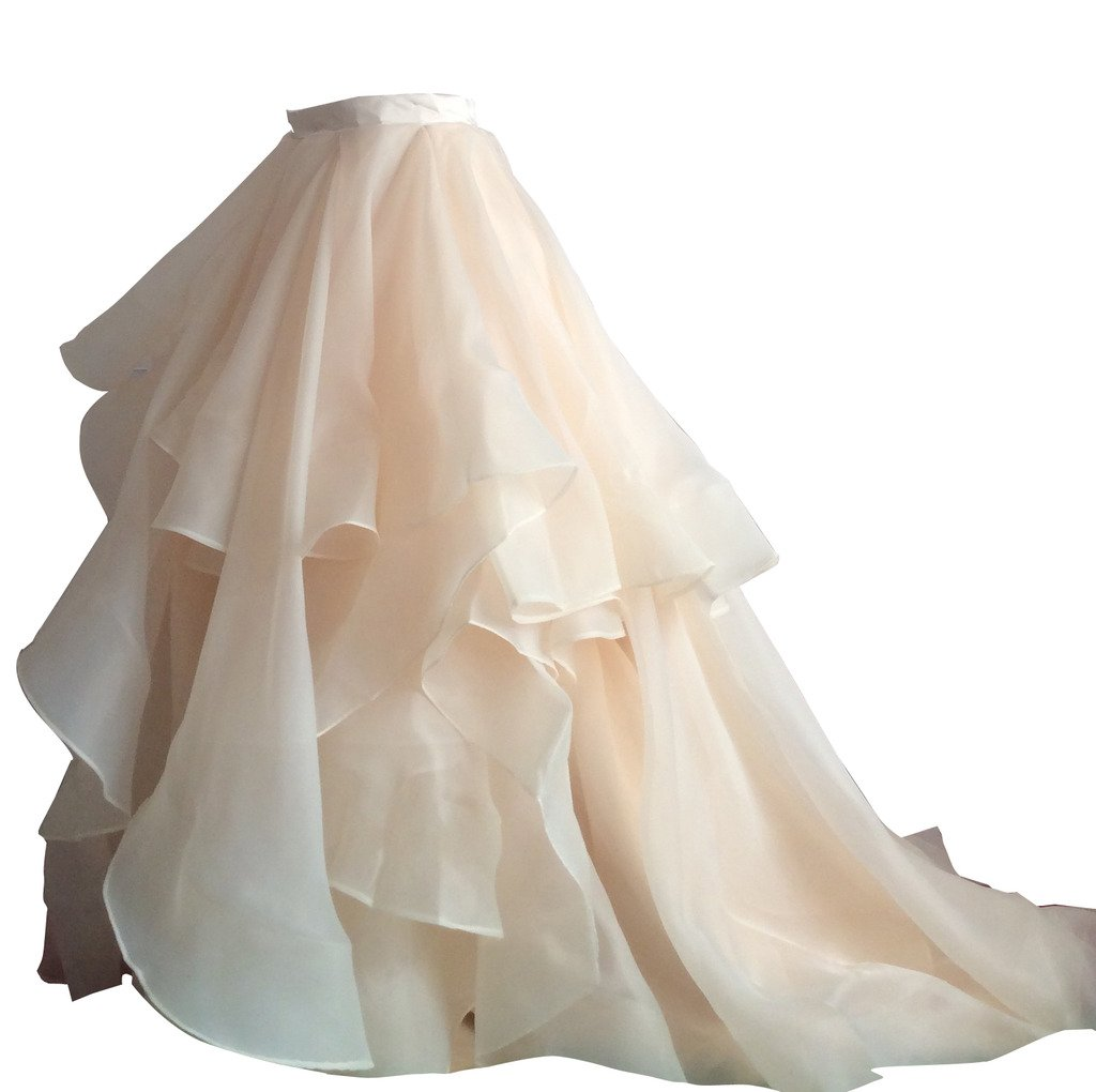 Flowerry Women Organza Skirt Bridesmaid Formal Skirt Prom Wedding Party Bridal Skirt XXL champagne