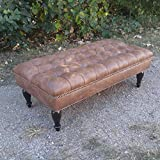 "Design 59 inc. LARGE Vegan Leather Tufted Ottoman / Footstool / Upholstered Coffee Table, 46""x24"""