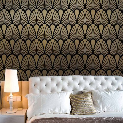 Empire Deco Allover Wall Stencil - Trendy Stencils for DIY Home Decor - By Cutting Edge Stencils ...