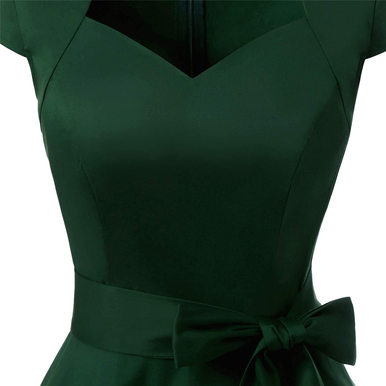 MUADRESS Womens Retro 1950s Cap Sleeve Vintage Rockabilly Prom Swing Dresses