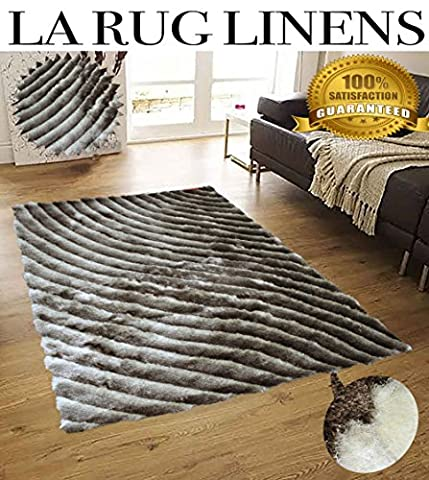 5x7 Beige Brown Cream Two Tone Color Shaggy Collection 3D Fluffy Fuzzy Design Soft Thick Plush Shimmer Shag Living Room Bedroom Rug ( SAD 274 Beige - Tufted Zebra Rug