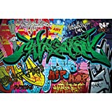 GREAT ART XXL Wallpaper - Graffiti Street Style - Wall Mural Ghetto Decoration Art Writing Pop Letters Poster Painting Urban Abstract Comic - 5 Parts (82.7 x 55 Inch / 210 x 140 cm)