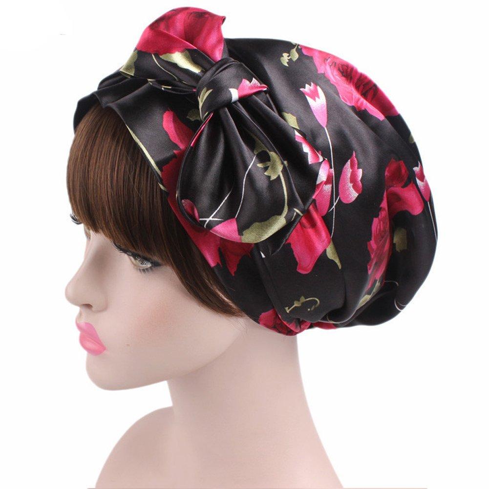 Women's Satin Bonnet Hair Loss Sleep Caps Floral Night Hat Bow Headscarf Sleeping Shower Cap