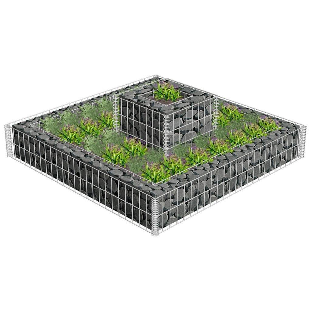 Flower Basket Gabion Stone Wire Baskets Garden Outdoor Plant Bed Planter
