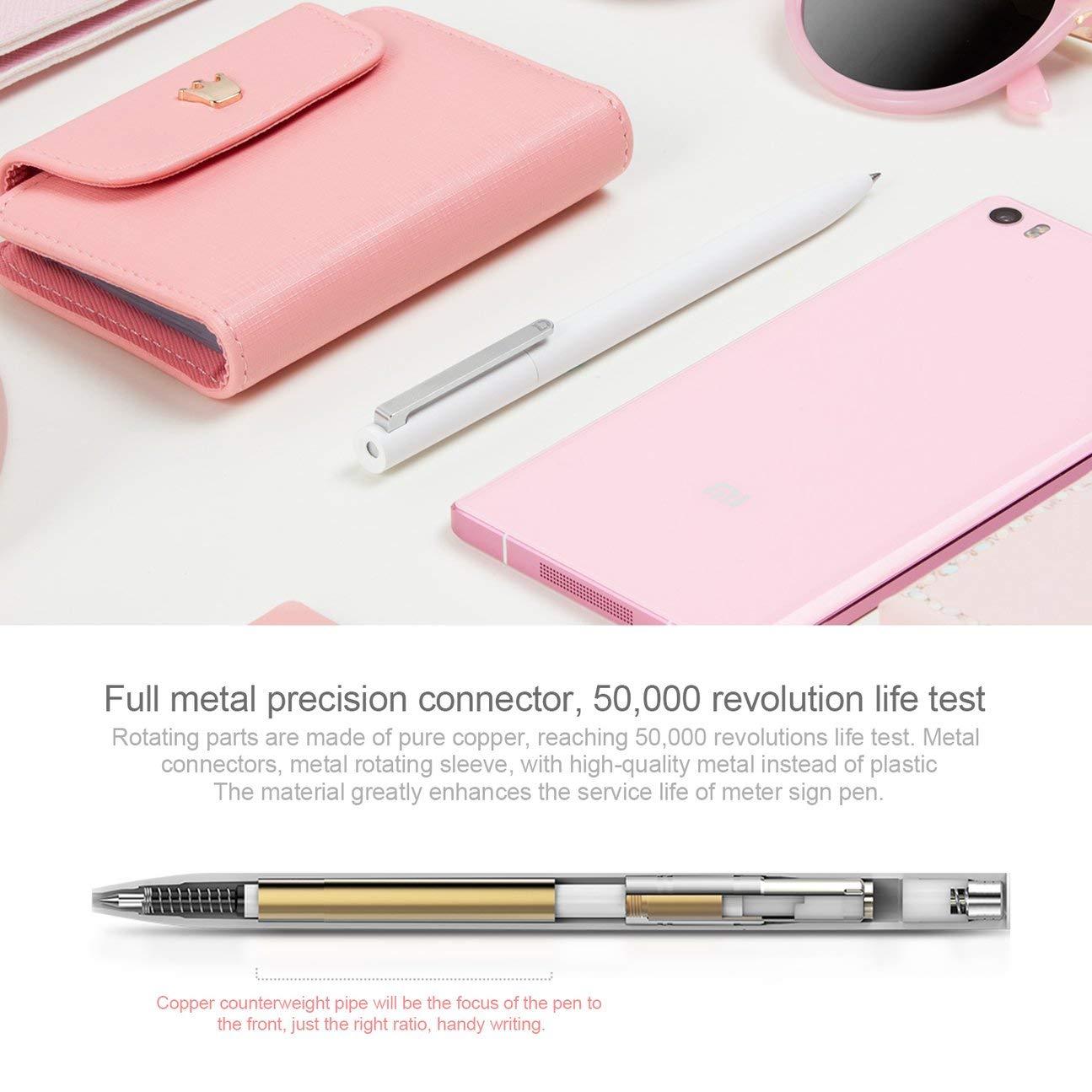 blanco y blanco Xiaomi Mijia Bol/ígrafos universales Rollerball L/ápiz duradero de firma suave con dise/ño retr/áctil y recargable