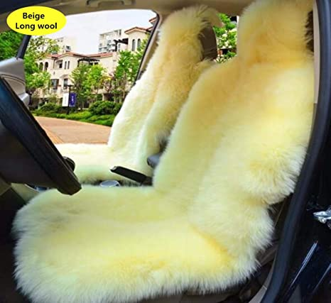 Inzoey Genuine Sheepskin Car Seat Covers Breathable Long Wool Car Seat Cushion General Fit Most Car,Trucks,SUV,or Van in Winter Cameo Brown