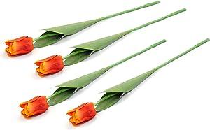 DII 4 Piece Artificial Tulip - Natural Silk Flowers For Bridal Bouquet, Home Decoration, DIY, Arts & Crafts Project, Garden, Office Decor, Centerpiece Décor - Orange