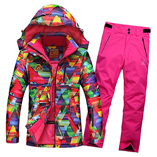 Gwynesdra women's skiing clothing winter outdoor sports jacket+ pants waterproof windproof snowboard ski suit M color1