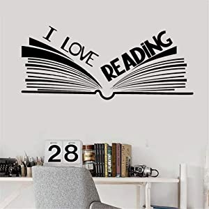 Edvoynlm I Love Reading Vinyl Wall Decal Stickers for Library Reading Corner Room Classroom Open Book Stickers Mural
