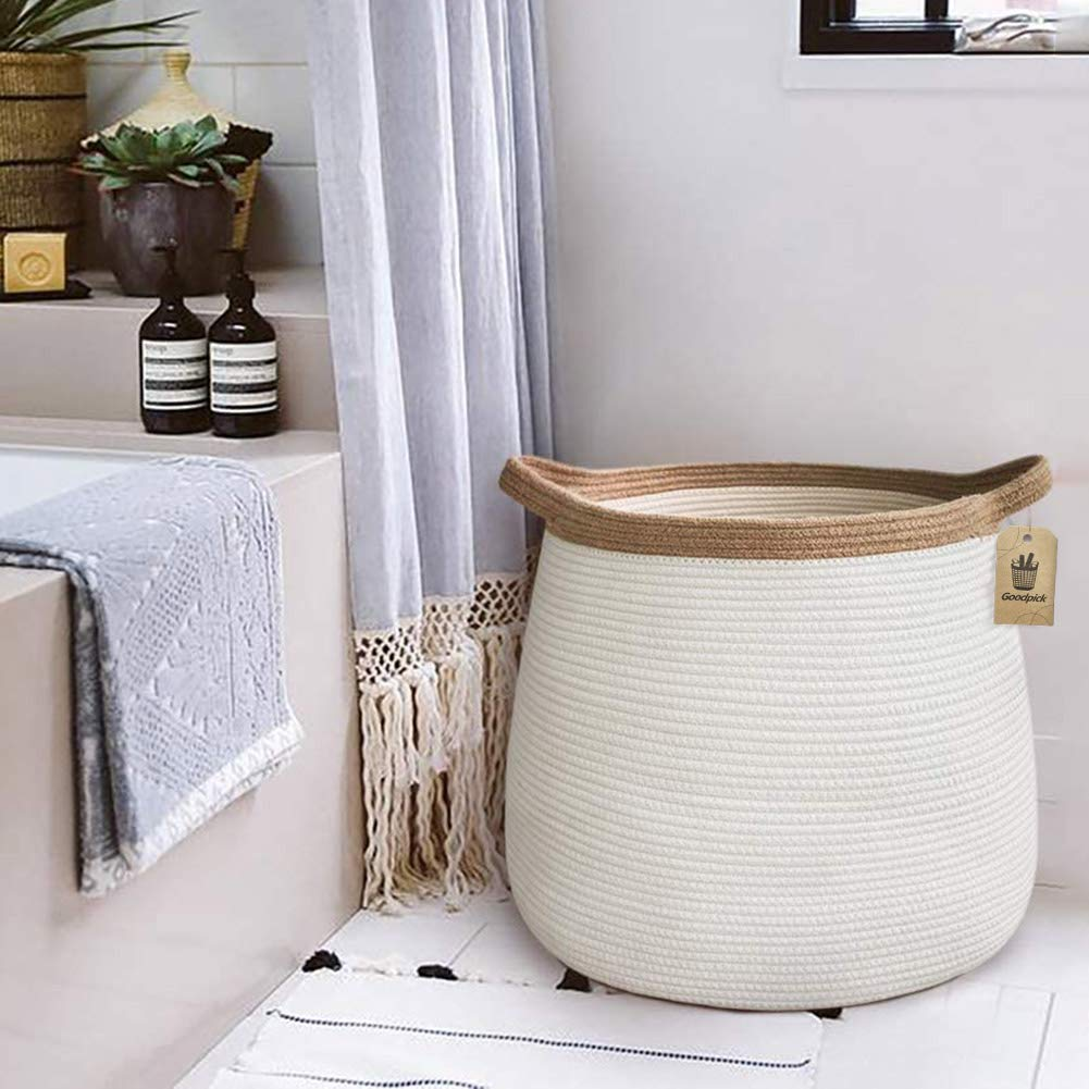 "Goodpick Wicker Basket | 17.71"" x 17.71""Boho Laundry Basket Storage Basket for Toys, Towels, Blankets Farmhouse Weave Rope Basket"