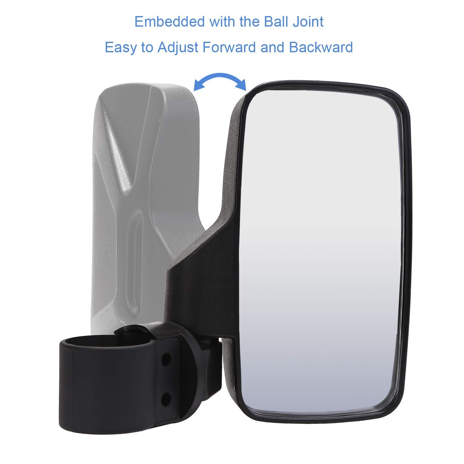 Pack of 2 Universal UTV Side View Mirrors High Impact BETOOLL Upgraded Adjustable Pair UTV Side Mirror Set 1.75 or 2inch Roll Bar Cage