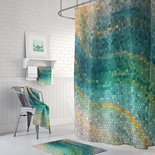 Amazon Ocean Mosaic Shower Curtain Handmade