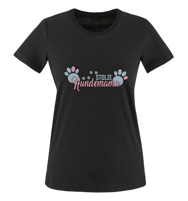 Comedy Shirts - Stolze Hundemama - Pfoten - Damen T-Shirt - Rundhals, 100% Baumwolle, Kurzarm Top Basic Print-Shirt